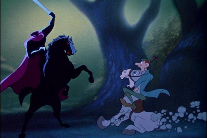 """Ichabod Crane in the Disney short """"The Adventures of Ichabod and Mr. Toad"""" (1949)"""