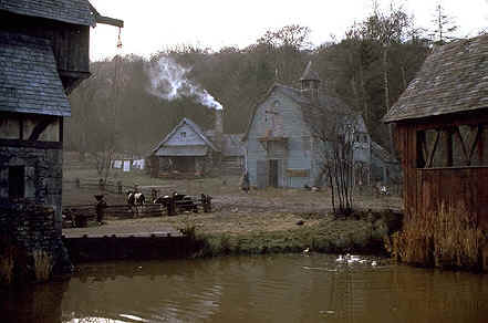 "Set from Tim Burton film adaptation, ""Sleepy Hollow"" starring Johnny Depp as Ichabod Crane (1999)"
